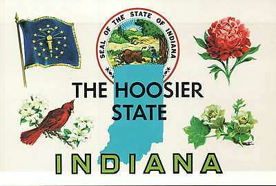 Lot of 9 Postcards of the Great State of Indiana, The Hoosier State, Seal etc.