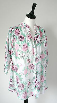 Radley - 1970s vintage viscose top - white/pink - UK 12