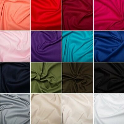 Plain Coloured Cotton Stretch Sateen Dress Fabric Material 97% Cotton 3% Spandex