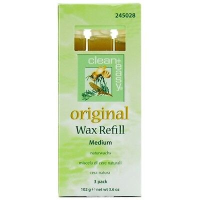 Clean+Easy Original Medium Wax Refill for Waxing and Hair Removal 3 Pack 102g