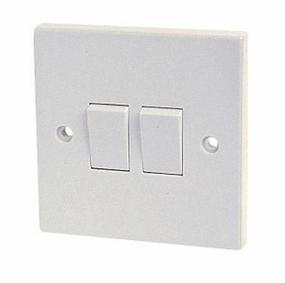 Dencon White Light Switch 2 Gang 2 Way Bs3676 10A