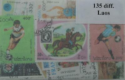 Laos,  135 stamps, all different (ww115a)