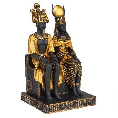 Legendary Egyptian Rulers Lovers God Osiris Goddess Isis on Royal Throne Statue