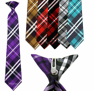 New 100% Polyester Woven  Kids Clip On Pre Tied Neck tie plaid purple size 14