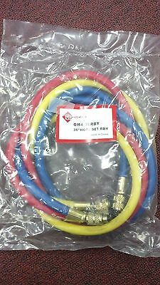 """REFRIGERATION R12/R22  Hose Set 36"""" Yellow, Blue & Red, REFRISOURCE QH436RBY"""
