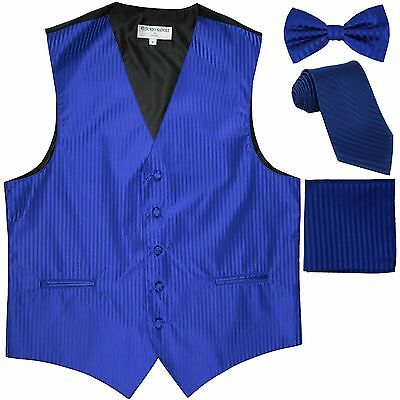 New Men's stripes Tuxedo Vest Waistcoat & necktie & Bow tie & Hankie royal blue