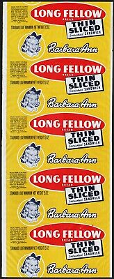 Vintage bread wrapper BARBARA ANN LONG FELLOW California unused new old stock