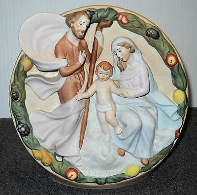 VINTAGE SCHMID SANTINI MUSICAL WITH RAISED FIGURES JOSEPH, MARY AND BABY JESUS.