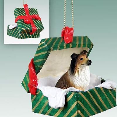 COLLIE Sable Dog Green Gift Box Holiday Christmas ORNAMENT