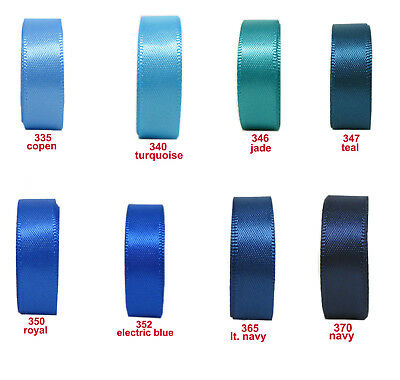 "9mm 3/8"" Turquoise Royal Navy Blue Premium Double Sided Satin Ribbon Eco Gift"