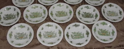 """ENGLISH SPODE COPELAND CHINA GREEN BASKET PLATE 6""""  ONE OUT OF 13"""