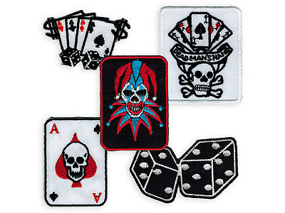 EMBROIDERED PATCH POKER iron on ACE OF SPADES lucky dice joker card skull  game
