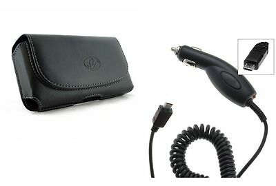 RAPID Car Charger + Leather Sideways Clip Case Pouch for Motorola Cell Phones