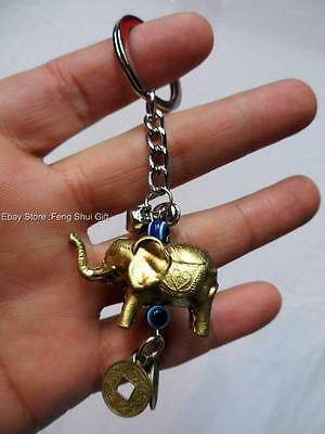 Brass Tone Feng Shui Oriental Chinese Lucky Elephant Trunk Up Key Chain Ring #EL