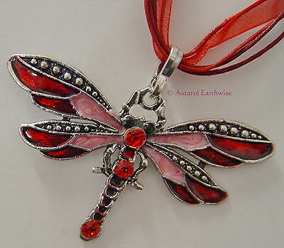 DRAGONFLY NECKLACE - RED & SILVER  Wicca Witch Pagan Goth