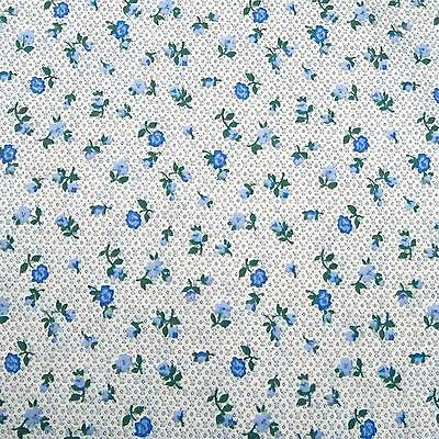Vintage Cotton Fabric Per Yard, Blue Roses on Tiny Blue Pattern by Peter Pan