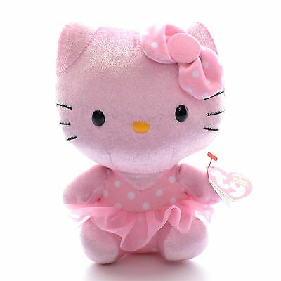 Official TY Collection Pink Body Hello Kitty Plush TY Beanies Doll Toy 5'' New