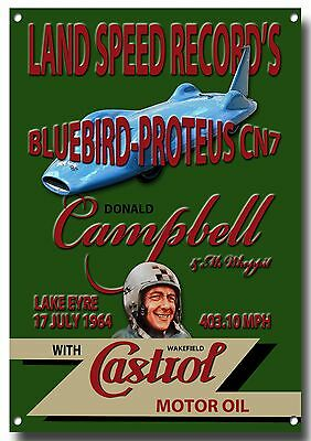 BLUEBIRD-PROTEUS CN7 LAND SPEED RECORD'S ENAMELLED METAL SIGN.DONALD CAMPBELL.
