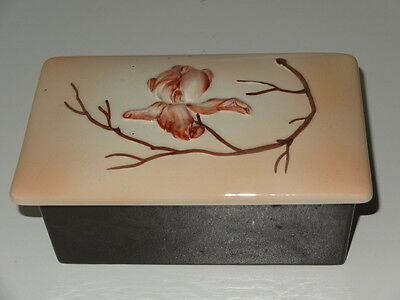ART DECO CARLTON WARE BROWN AND PINK FLOWER BUTTER DISH