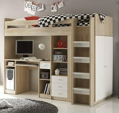 kinderzimmer 4 tlg kleiderschrank regal mit schreibtisch. Black Bedroom Furniture Sets. Home Design Ideas
