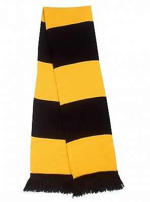Gold & Black Traditional Retro Rugby Union Bar Scarf In London wasps Colours