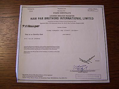 HAW PAR BROTHERS  DATED 1992   187  SHARES  INVALID SHARE CERTIFICATE