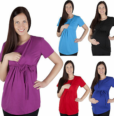 2 in 1 Maternity Pregnancy nursing breastfeeding Top Blouse Shirt short sleeve