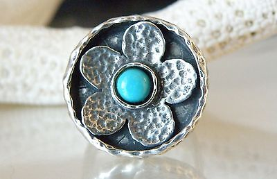 NEW STERLING SILVER 925 SCULPTED MODERN TURQUOISE FLOWER FLORAL RING ISRAEL
