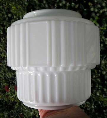Antique Vintage Unusual Large Art Deco Milk Glass Shade for Chandelier~Fixture