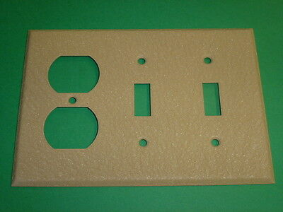 Nos! 3-Gang Double Toggle Switch - Single Receptacle, Ivory Crackle, Wall Plate,