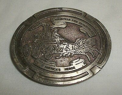 Vintage Belt Buckle Volunteer Fire Department America's Heros Fireman