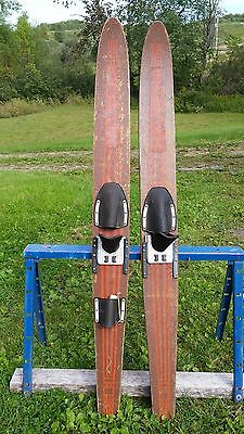 "VINTAGE Set of Wooden 68"" Long Waterskis Signed Riviera Great for Decoration"