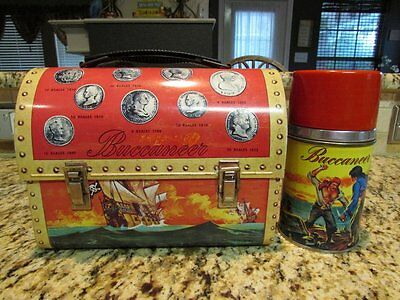 Vintage Old Nice Rare 1957 Buccaneer Metal Dome Lunchbox & Mint Thermos