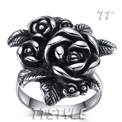 Womens High Quality TT 316L Stainless Steel Rose Ring Size 7-9 (RZ109) NEW