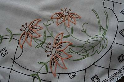 """Vintage Tablecloth Topper Hand Embroidered Tropical Flowers Lace Edge 32"""""""