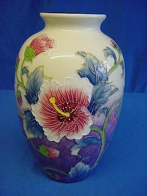 Old Tupton Ware Hibiscus Patterned Tubelined Porcelain Ovoid Shaped Vase 1247