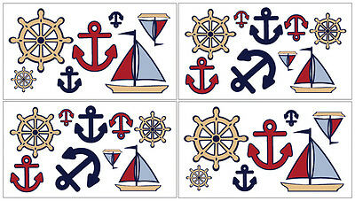 Sweet Jojo Designs Nautical Boat Bedding Decal Stickers Kid Wall Art Room Decor