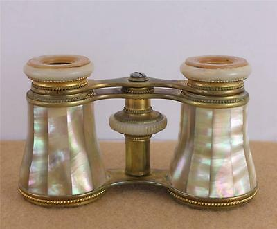 Antique EB Meyrowitz Mother of Pearl Opera Glasses New York Binoculars Field