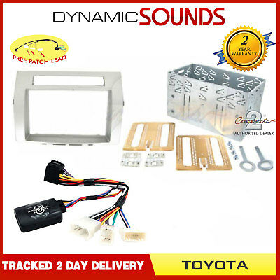 Double Din Car Stereo Fascia Fitting Kit Silver for Toyota Corolla Verso 2005 >