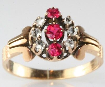 Victorian Antique 14K Gold Rose Cut Diamond Ruby Ring Size6.25