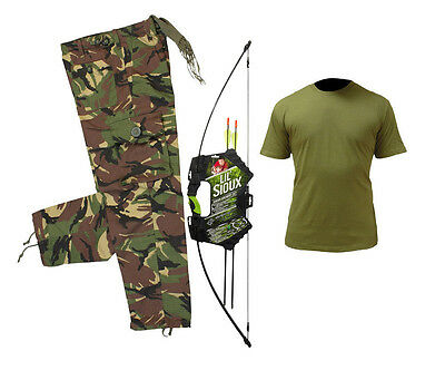 Kids Lil Sioux Junior Archery Set with Kids Military Style DPM Clothing/Outfit