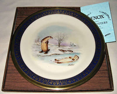LENOX Boehm 1982 Woodland Wildlife Playful RIVER OTTERS Plate IN/OUTER Bxs+COA