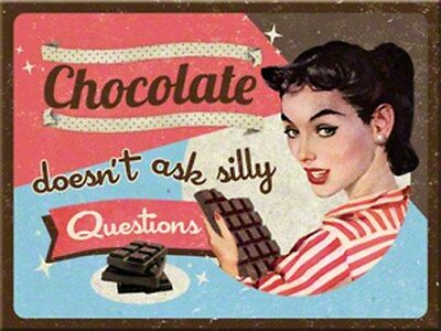 MAGNET 14279 - CHOCOLATE DOESN´T ASK SILLY QUESTIONS - 8 x 6 cm - NEU