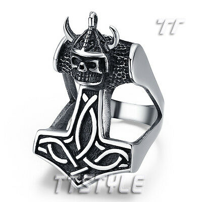 High Quality TT 316L Stainless Steel Soldier Thor Hammer PUNK Ring (RZ105)NEW
