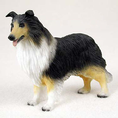 Collie Hand Painted Collectible Dog Figurine Tri Color