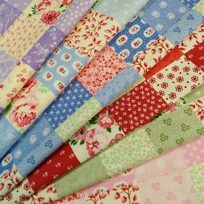 Patchwork Squares Ditsy Flowers 100% Cotton Poplin Fabric Craft Material