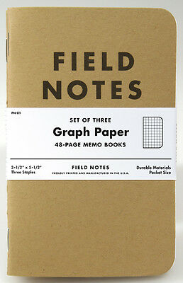 Pack of 3 Field Notes, Kraft Cover, Graph Ruled