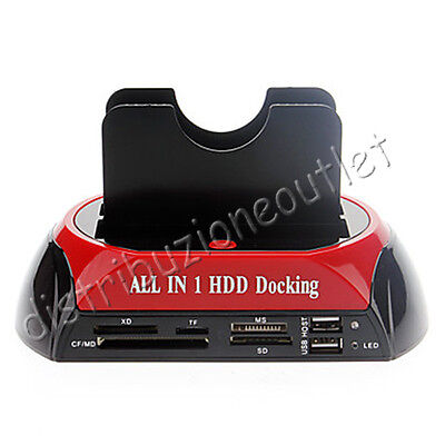 "Docking Station Ide Sata 2.5"" 3.5"" Lettore Multimediale  Box Case Hd Usb Hub"