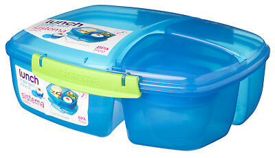 Sistema Blue Triple Split 2L Multi Compartment Lunch Box Yoghurt Pot School Food