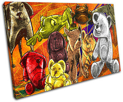 Teddy Bears For Kids Room SINGLE CANVAS WALL ART Picture Print VA